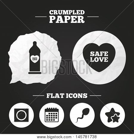 Crumpled paper speech bubble. Safe sex love icons. Condom in package symbol. Sperm sign. Fertilization or insemination. Paper button. Vector