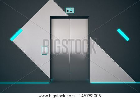 Front view of elevator in interior with pattern on wall and blue lighting. 3D Rendering