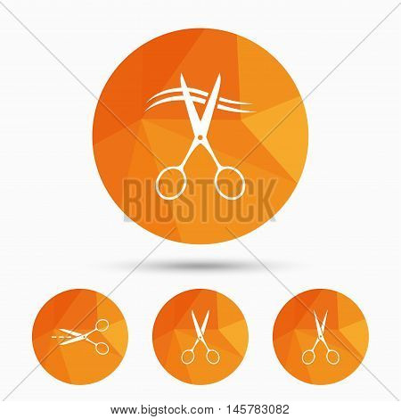 Scissors icons. Hairdresser or barbershop symbol. Scissors cut hair. Cut dash dotted line. Tailor symbol. Triangular low poly buttons with shadow. Vector