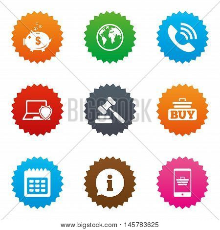 Online shopping, e-commerce and business icons. Auction, phone call and information signs. Piggy bank, calendar and smartphone symbols. Stars label button with flat icons. Vector