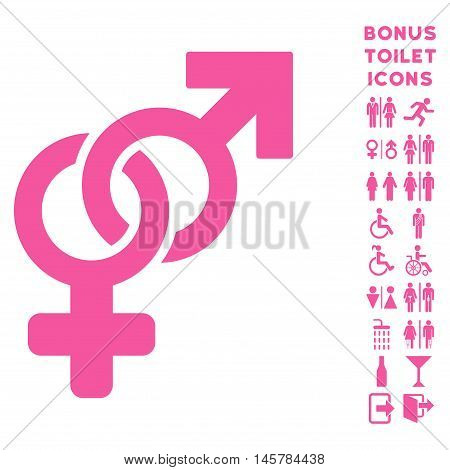 Heterosexual Symbol icon and bonus gentleman and lady restroom symbols. Vector illustration style is flat iconic symbols, pink color, white background.