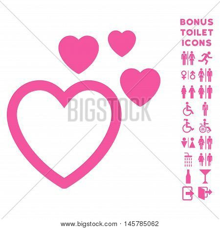 Love Hearts icon and bonus man and lady toilet symbols. Vector illustration style is flat iconic symbols, pink color, white background.