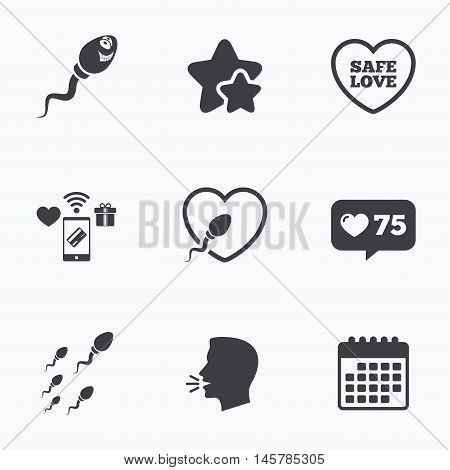 Sperm icons. Fertilization or insemination signs. Safe love heart symbol. Flat talking head, calendar icons. Stars, like counter icons. Vector