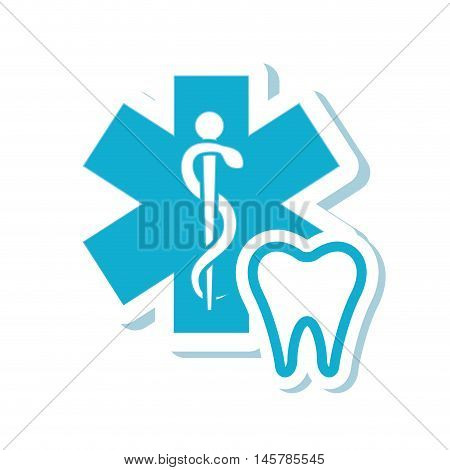 caduceus tooth medical health care icon. Flat and Isolated design. Vector illustration