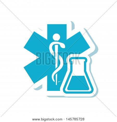 caduceus flask medical health care icon. Flat and Isolated design. Vector illustration