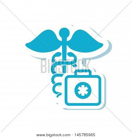 caduceus medical kit health care icon. Flat and Isolated design. Vector illustration
