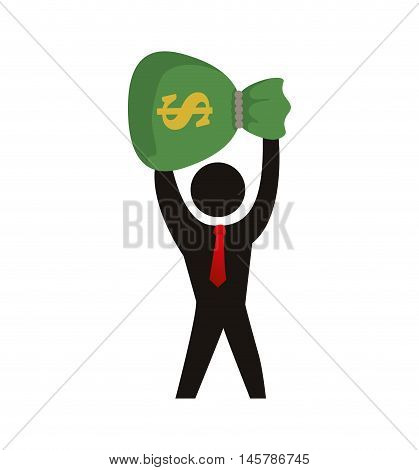 bill money bag pictogram necktie winner competition success icon. Flat and Isolated design. Vector illustration