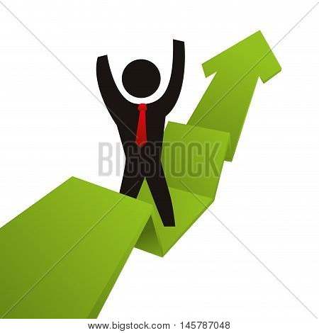 arrow infographic pictogram necktie winner competition success icon. Flat and Isolated design. Vector illustration