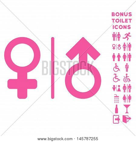 WC Gender Symbols icon and bonus male and woman restroom symbols. Vector illustration style is flat iconic symbols, pink color, white background.