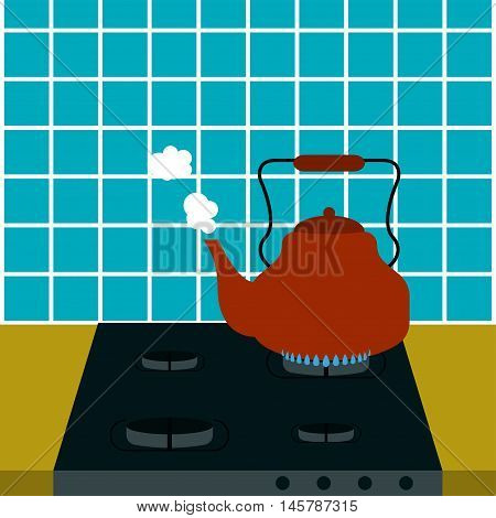 Kettle steam Vector illustration Old kettle heats on the gas stove and blows the steam