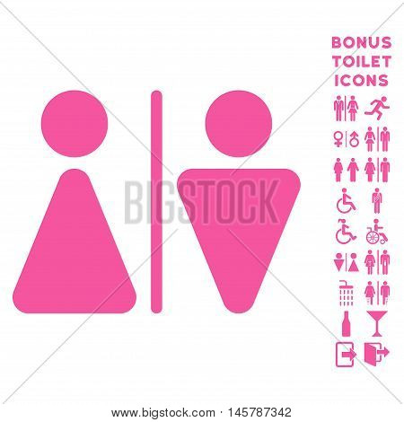 WC Persons icon and bonus gentleman and female restroom symbols. Vector illustration style is flat iconic symbols, pink color, white background.