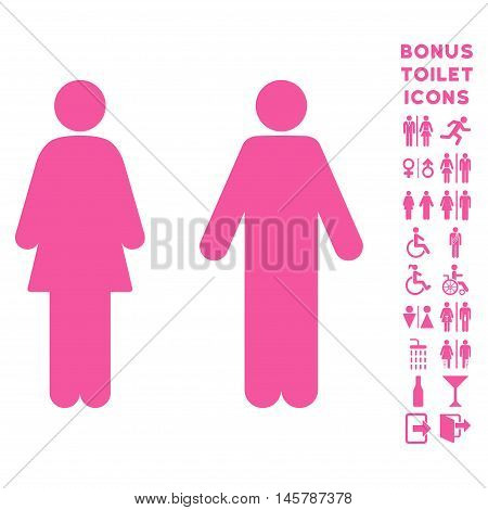 WC Persons icon and bonus male and woman restroom symbols. Vector illustration style is flat iconic symbols, pink color, white background.