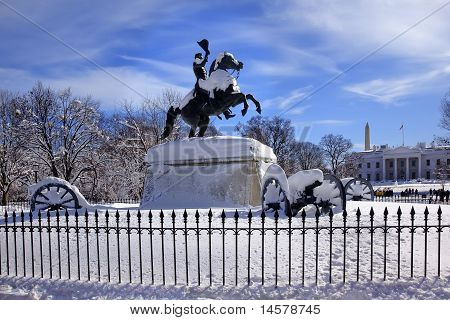Jackson Statue Canons Lafayette Park White House After Snow Pennsylvania Avenue Washington Dc