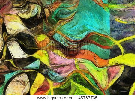 Swirling Shapes, Color and Lines.