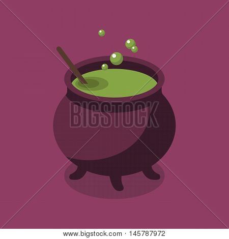 Witch Pot. Halloween Flat Icon vector illustration