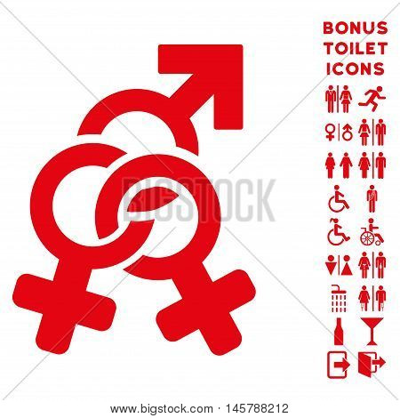 Double Mistress icon and bonus gentleman and woman WC symbols. Vector illustration style is flat iconic symbols, red color, white background.