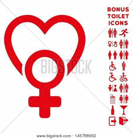 Female Love icon and bonus male and lady toilet symbols. Vector illustration style is flat iconic symbols, red color, white background.