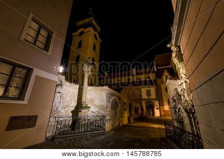Night in Ceske Budejovice town in south of Bohemia