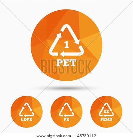 PET, Ld-pe and Hd-pe icons. High-density Polyethylene terephthalate sign. Recycling symbol. Triangular low poly buttons with shadow. Vector