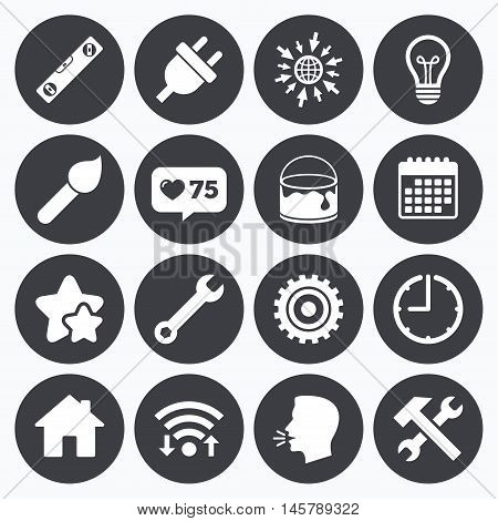 Calendar, wifi and clock symbols. Like counter, stars symbols. Repair, construction icons. Hammer, wrench tool and cogwheel signs. Electric plug, lamp and house symbols. Talking head, go to web symbols. Vector