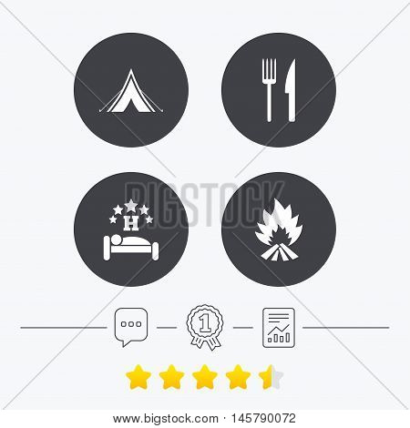 Food, sleep, camping tent and fire icons. Knife and fork. Hotel or bed and breakfast. Road signs. Chat, award medal and report linear icons. Star vote ranking. Vector
