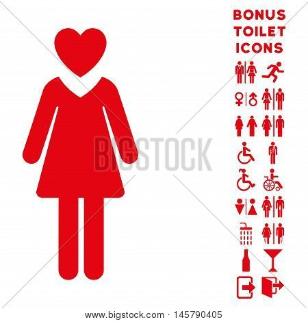 Mistress icon and bonus gentleman and lady toilet symbols. Vector illustration style is flat iconic symbols, red color, white background.