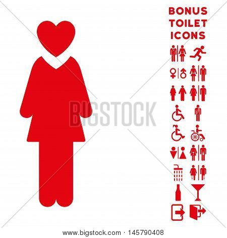 Mistress icon and bonus gentleman and lady WC symbols. Vector illustration style is flat iconic symbols, red color, white background.