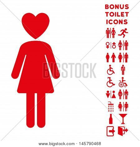 Mistress icon and bonus male and lady lavatory symbols. Vector illustration style is flat iconic symbols, red color, white background.