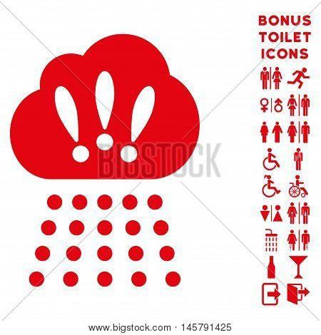 Storm Cloud icon and bonus male and woman restroom symbols. Vector illustration style is flat iconic symbols, red color, white background.