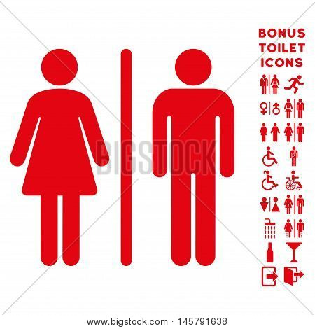 WC Persons icon and bonus male and lady lavatory symbols. Vector illustration style is flat iconic symbols, red color, white background.