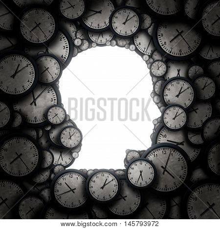 Time to think and thinking schedule concept as a group of clock objects shaped as a human head as a business punctuality and appointment stress metaphor or deadline pressure and overtime icon as a 3D illustration.