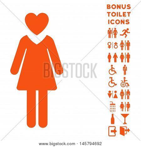 Mistress icon and bonus male and female restroom symbols. Vector illustration style is flat iconic symbols, orange color, white background.