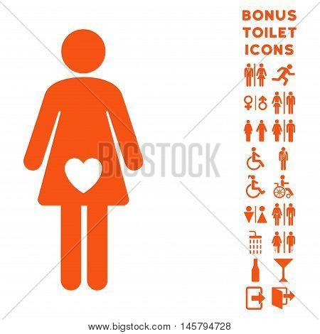 Mistress icon and bonus gentleman and lady toilet symbols. Vector illustration style is flat iconic symbols, orange color, white background.