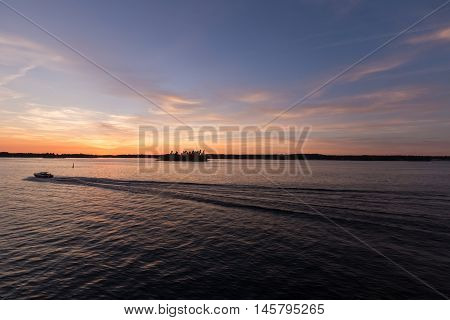Sunset over the St. Lawrence Seaway in September
