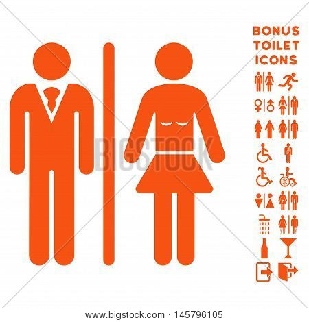 Toilet Persons icon and bonus male and lady restroom symbols. Vector illustration style is flat iconic symbols, orange color, white background.