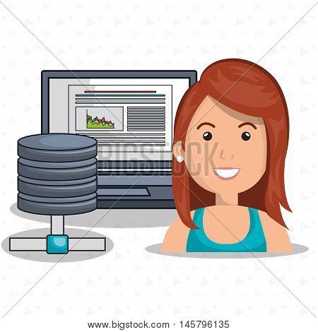 woman data base laptop vector illustration eps10