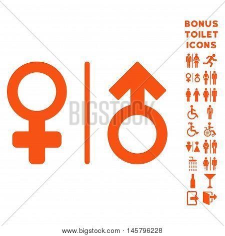 WC Gender Symbols icon and bonus man and female restroom symbols. Vector illustration style is flat iconic symbols, orange color, white background.