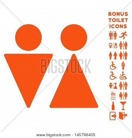 WC Persons icon and bonus male and female restroom symbols. Vector illustration style is flat iconic symbols, orange color, white background.