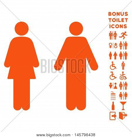 WC Persons icon and bonus male and woman lavatory symbols. Vector illustration style is flat iconic symbols, orange color, white background.