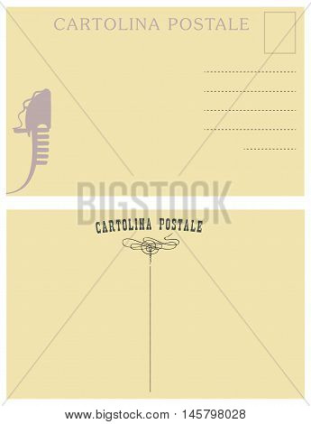 The reverse side of Italian vintage postcards. Vector.
