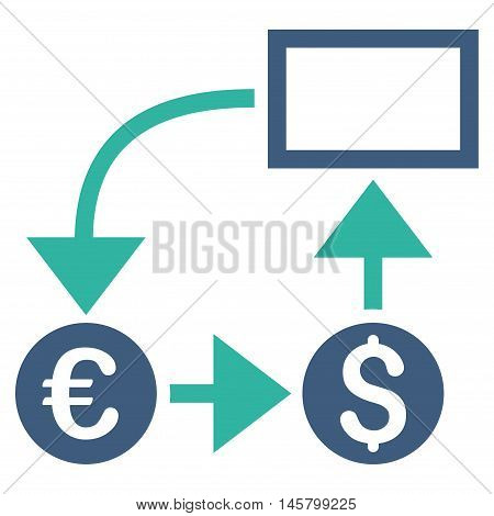 Cashflow icon. Vector style is bicolor flat iconic symbol, cobalt and cyan colors, white background.