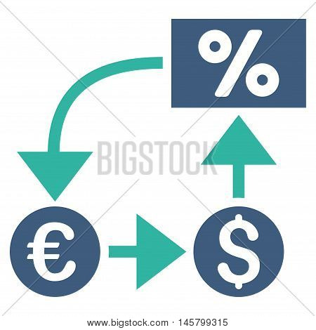 Currency Cashflow icon. Vector style is bicolor flat iconic symbol, cobalt and cyan colors, white background.