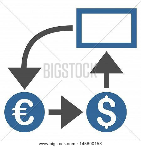 Cashflow icon. Vector style is bicolor flat iconic symbol, cobalt and gray colors, white background.
