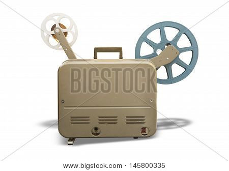 old-fashioned cinema projector isolated on white background