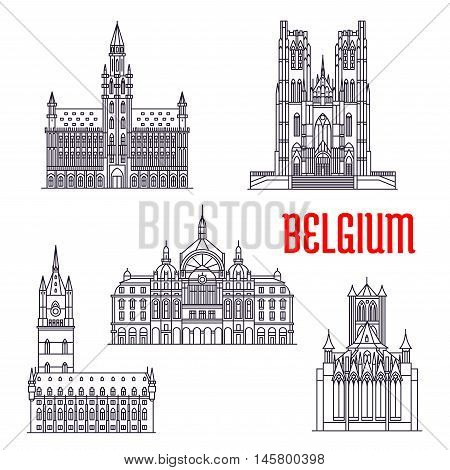 Famous historic buildings of Belgium. Vector thin line icons of Town Hall, Michael and Gudula Cathedral, Cloth Hall, Central Station, Peter Church Leuven. Belgian architecture symbols for souvenirs, postcards