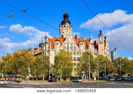 Leipzig, Germany - November 11, 2010: Neues Rathaus (new town hall) in Leipzig Germany.