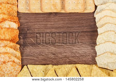 Frame Of Cookies And Crisps, Concept Of Unhealthy Food, Copy Space For Text