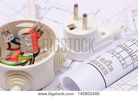 Electrical Box, Diagrams And Electric Plug On Construction Drawing