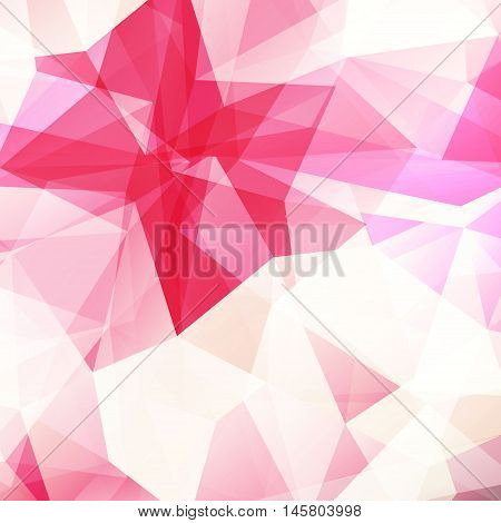 Colorful diamond texture close-up. Geometric polygonal pattern. Vector illustration. Abstract pink background.