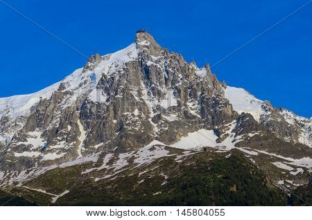 Mont-Blanc as seen from Chamonix in France
